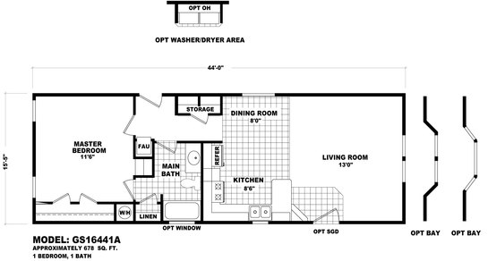 Gs 1644a modular home dealers for 14x40 mobile home floor plans